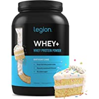 Legion Whey+ Whey Isolate Protein Powder from Grass Fed Cows - Low Carb, Low Calorie, Non-GMO, Lactose Free, Gluten Free, Sugar Free. Great for Weight Loss (30 Servings, Birthday Cake)