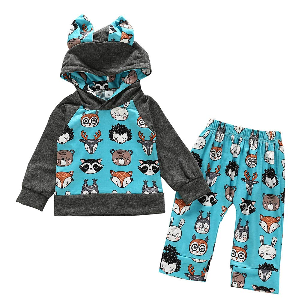 Toddler Boys Clothes,Infant Nerborn Baby Boys Character Bear Hooded Pullover Tops Pants Trousers Set Light Blue by PLENTOP
