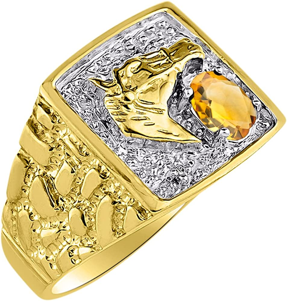 Diamond /& Citrine Ring Sterling Silver or Yellow Gold Plated Lucky Horse Head