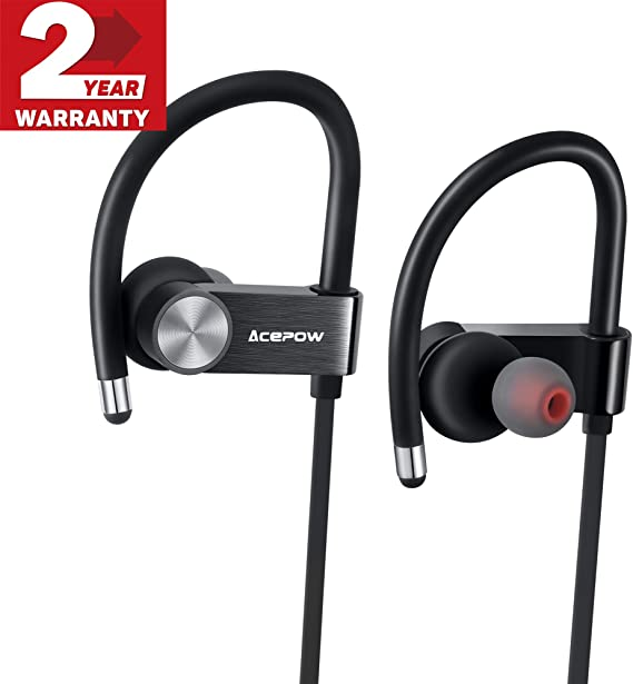 Amazon Com Bluetooth Headphones Acepow Metal Wireless Sports Earphones Ipx7 Sweat Proof V4 1 Apt X Stereo Noise Isolating Earbuds With Mic For Gym Workout 8 Hour Battery Headsets Premium Bass Sound Black