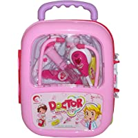 Prachin Kids Doctor Play Set with Trolley Suitcase Light & Sound Effects Medical Checkup Accessories Wheels Case Kits (Pink)