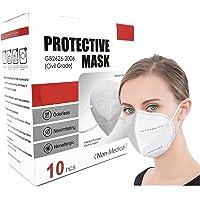 10 Packs Unisex Dust Masks Fold-Flat Dustproof Disposable Face Masks Valve 5 Layer Air Filter
