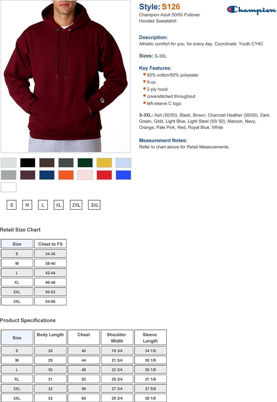 Champion 9 oz 50/50 Pullover Hoodie Sweatshirt S244C at  Men's Clothing store