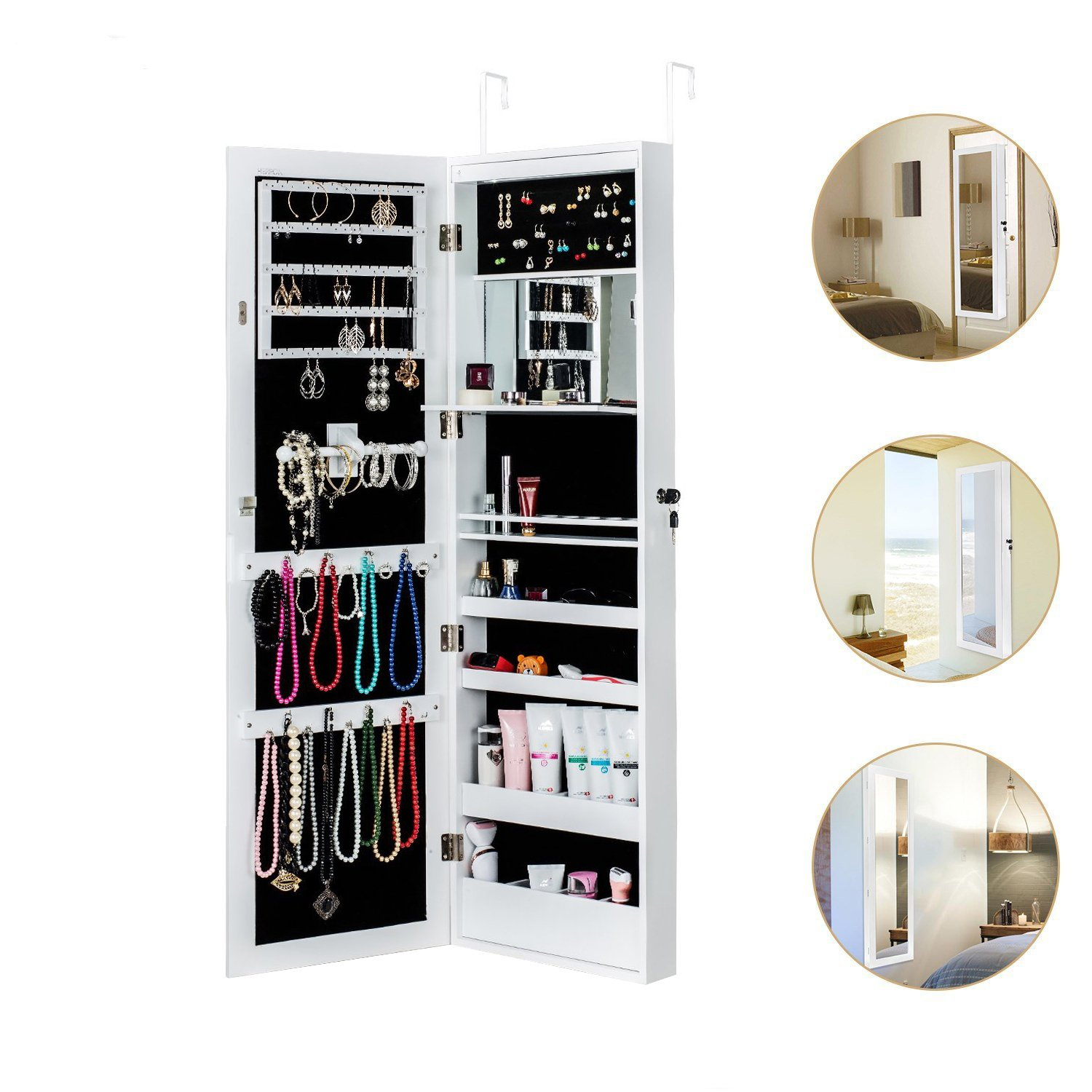 HERRON Jewelry Cabinet Armoire with Mirror Led Light Wall Door Mounted Organizer Storage,White