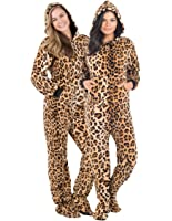 Footed Pajamas Cheetah Spots Adult Hoodie Chenille