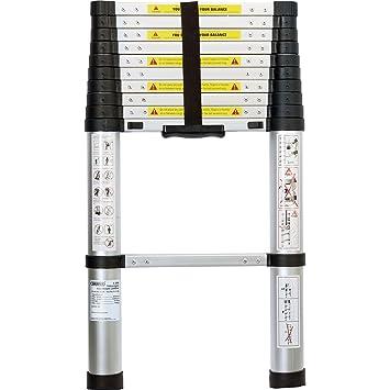 Draper 52366 11 escalones escalera telescópica de aluminio ...