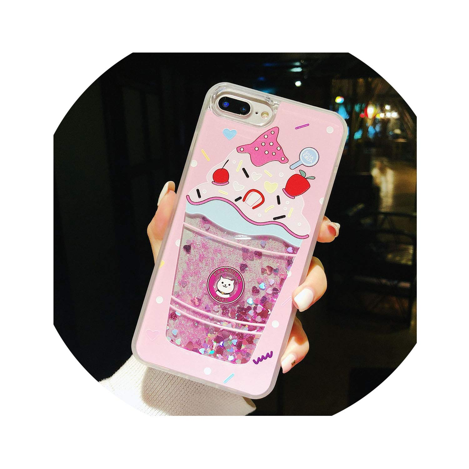 Fashion Glitter Bottle Quicksand Dynamic Phone Case for iPhone X XR XS Max Bling Flowing Sequins Cases for iPhone 8 7 6 6s Plus,Ice Cream,for iPhone 6S