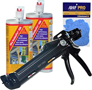 Sika AnchorFix 500 Kit - Two Component Epoxy 20 oz, High Performance, Concrete Anchoring System (2), AWF PRO Epoxy Adhesive Applicator, 22 oz. Dual Cartridge Capacity 25:1 Thrust (1), Gloves (1)