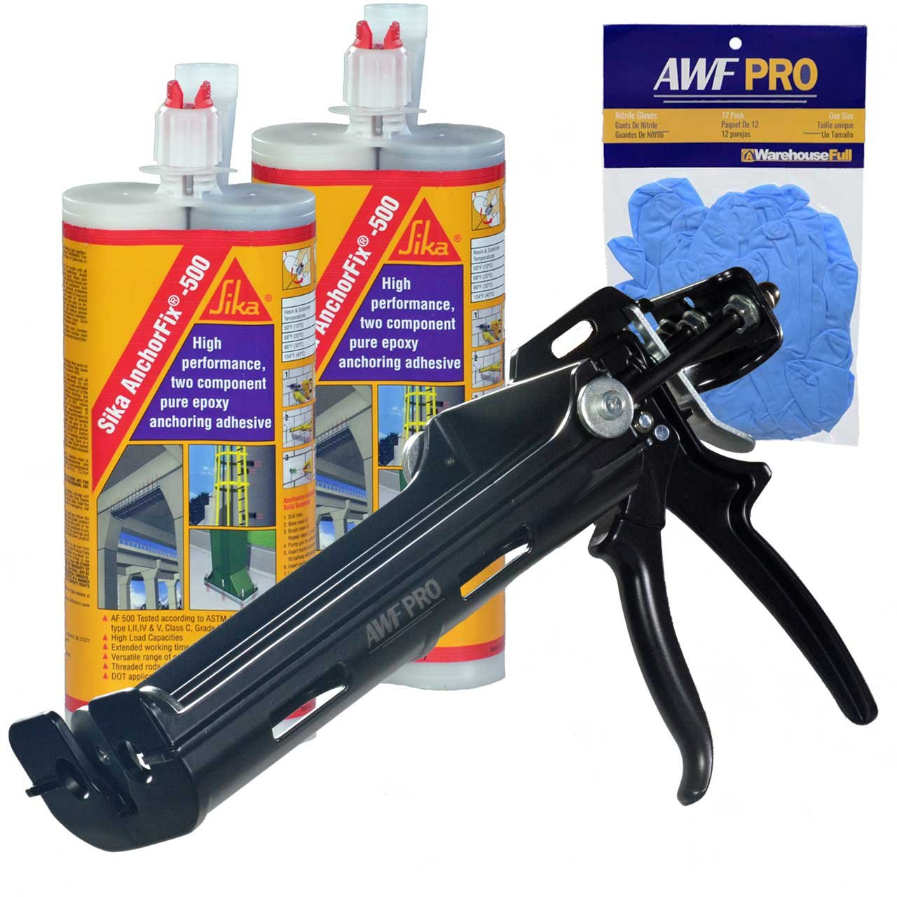 Epoxy Adhesive Applicator, 22 oz. Dual Cartridge Capacity, 25:1 Thrust, AWF Pro with 2 Cartridges, Sika AnchorFix 500: 20 oz Two Component Epoxy, High Performance, Concrete Anchoring System