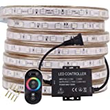 XUNATA 164ft LED RGB Rope Strip Light, AC 110-120V 60 LEDs/M SMD 5050 Touch Remote Control Multi-Color Changing…