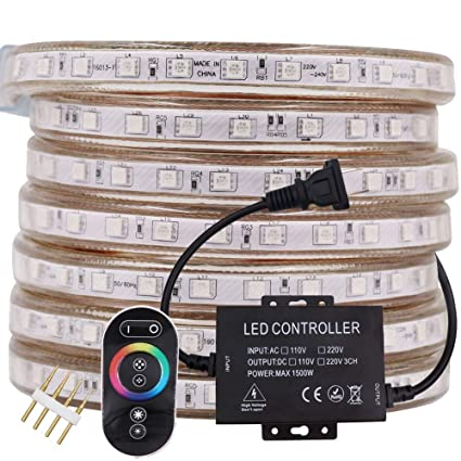Xunata 164ft Led Rgb Rope Strip Light Ac 110 120v 60 Leds M Smd 5050 Touch Remote Control Multi Color Changing Waterproof Flexible Strip Lights For