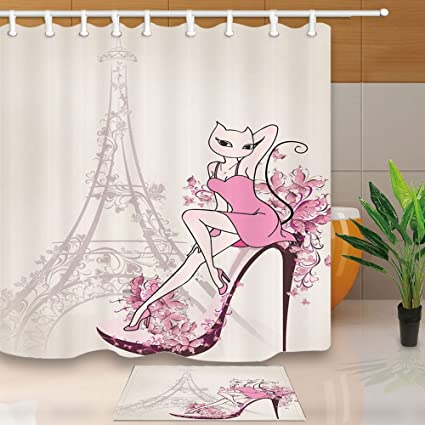 Valentines Day Shower Curtain By HiSohoParis Eiffel Tower And Sexy Cat Eyes Roseleaf