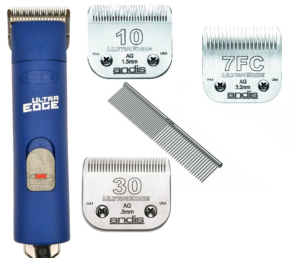Andis ProClip AGC Super 2-Speed Detachable Blade Clipper Professional Animal Grooming AGC2 With 3-blades #10+#30+#7FC and Steel Comb