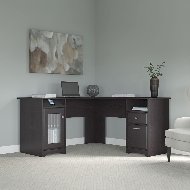 cabot collection 60w l desk in espresso oak black office desk