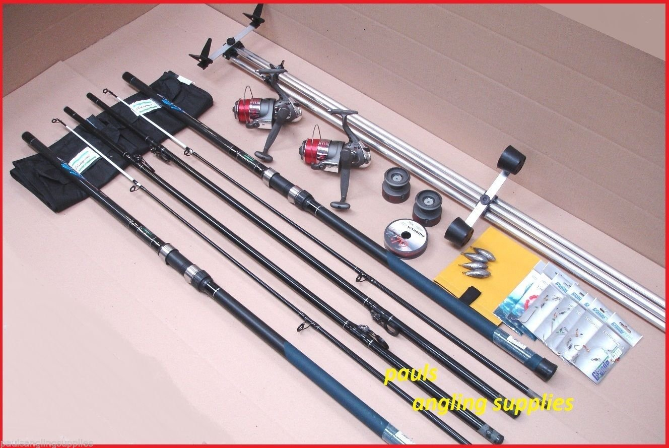 Shakespeare Sea Fishing 13 ft Kit 2 Rods 2 Reels Tripod & Tackle Beach, Beachcaster Beachcasting Shakespeare / Lineaeffe ASl22