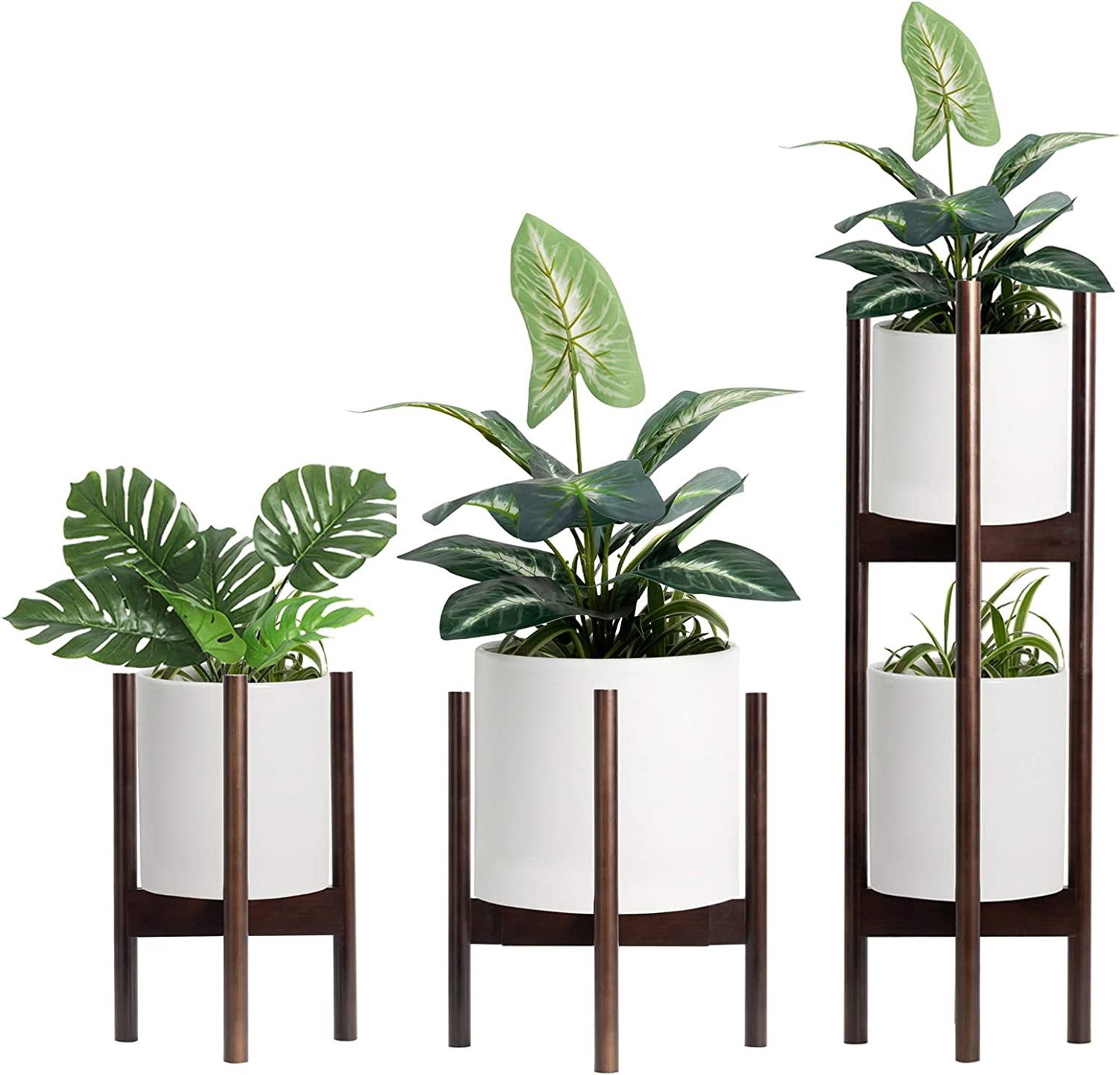 Plant Stand Pack of 2, Adjustable & Stackable Plant Stands Indoor,2 Tier Tall Plant Stand 30 inches,Fits Pot Size of 8 to 12 inches Pot & Plant Not Included