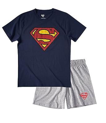 dcce2db639 Superman Herren Shorty-Pyjama - Marine blau - XL: Amazon.de: Bekleidung