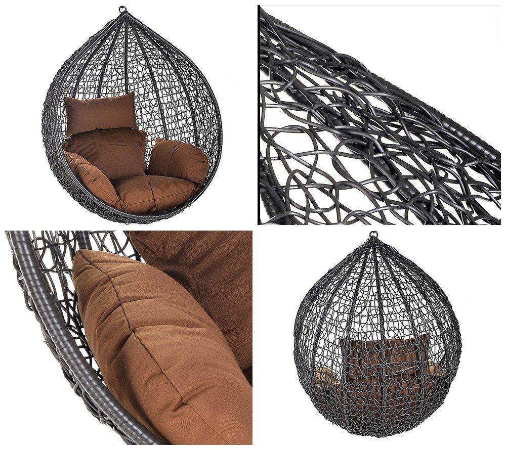 Home Deluxe Polyrattan Hängesessel KORB Cocoon, inkl. Sitz- und Rückenkissen