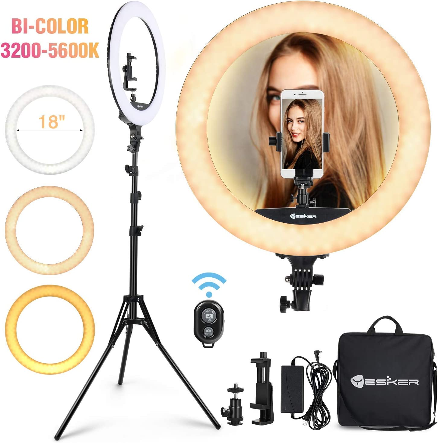 Fill light 18 inch LED Photography Cold and Warm Two-Color Ring Adjustable Light LED Lighting kit Beauty Light Wireless Remote Control with Stand