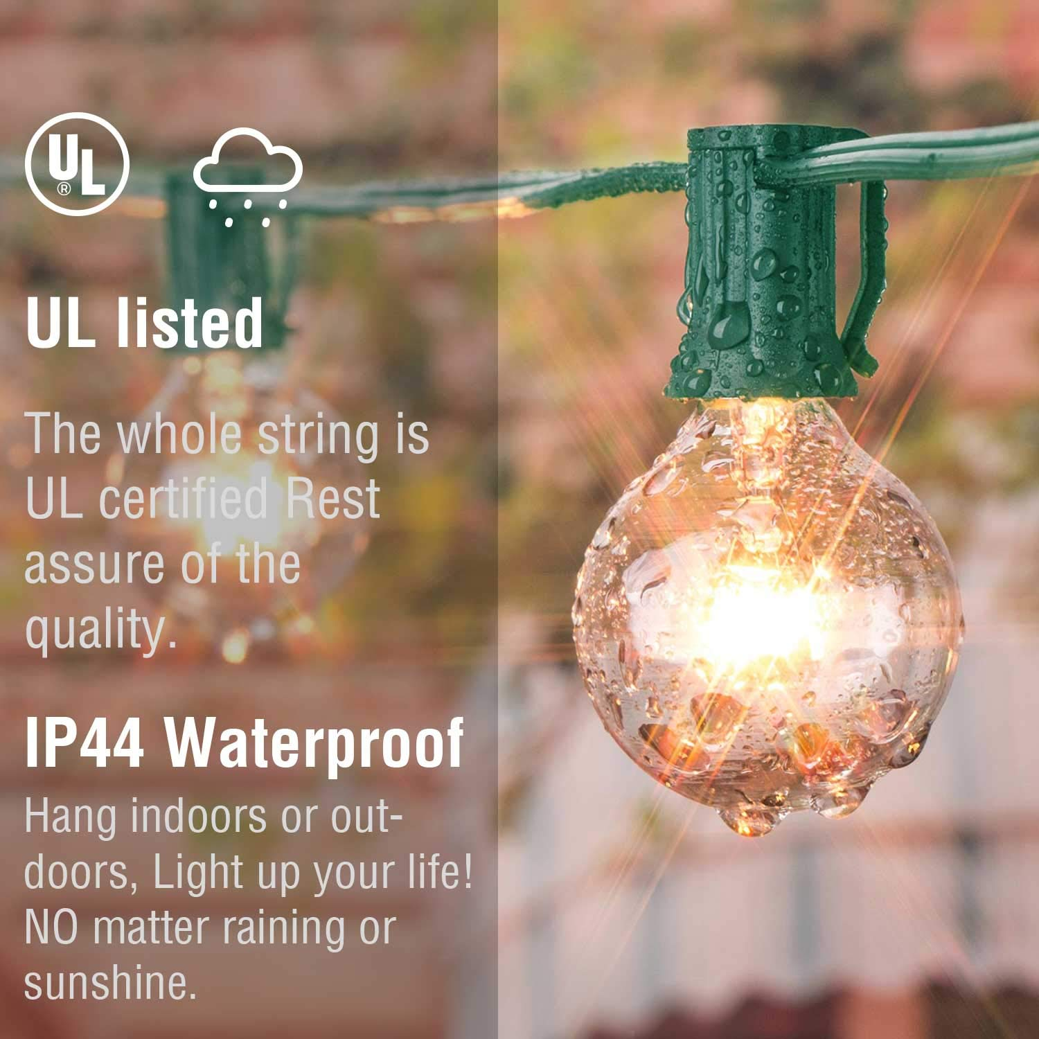 50Ft G40 Globe String Lights with Bulbs Outdoor Market Lights for Indoor/Outdoor Commercial Decor Green Wire by Brightown (Image #3)