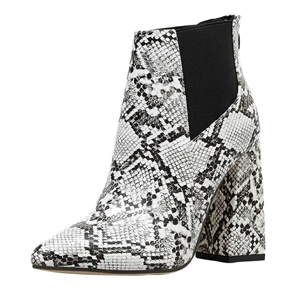 BIKETAFUWY Sexy Snakeskin Print Booties,Women's Pointed Toe High Chunky Heel Pumps Booties Cutout Elastic Band Boots White by BIKETAFUWY