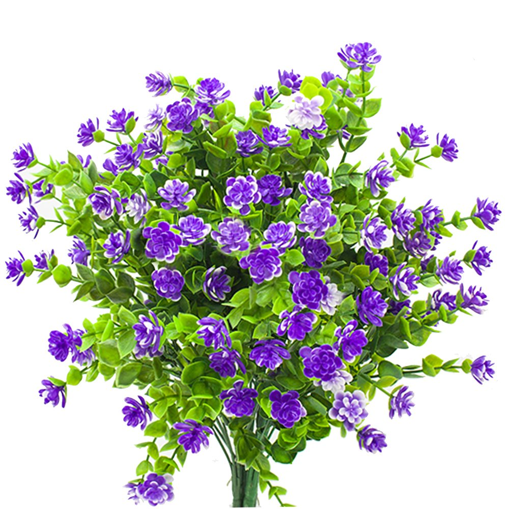 Artificial Flowers, Fake Outdoor UV Resistant Plants Faux Plastic Greenery Shrubs Indoor Outside Hanging Planter Home Kitchen Office Wedding, Garden Decor (Purple)