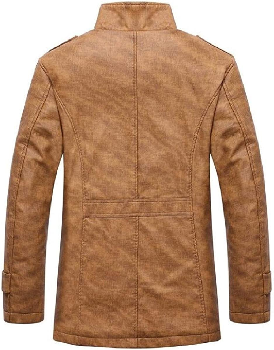 ONTBYB Mens Faux Leather Stand Collor Fleece Motorcycle Jacket