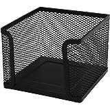 uxcell オフィス ブラック 金属 正方形 メモ紙パッド ブックボックス ホルダー コンテナー