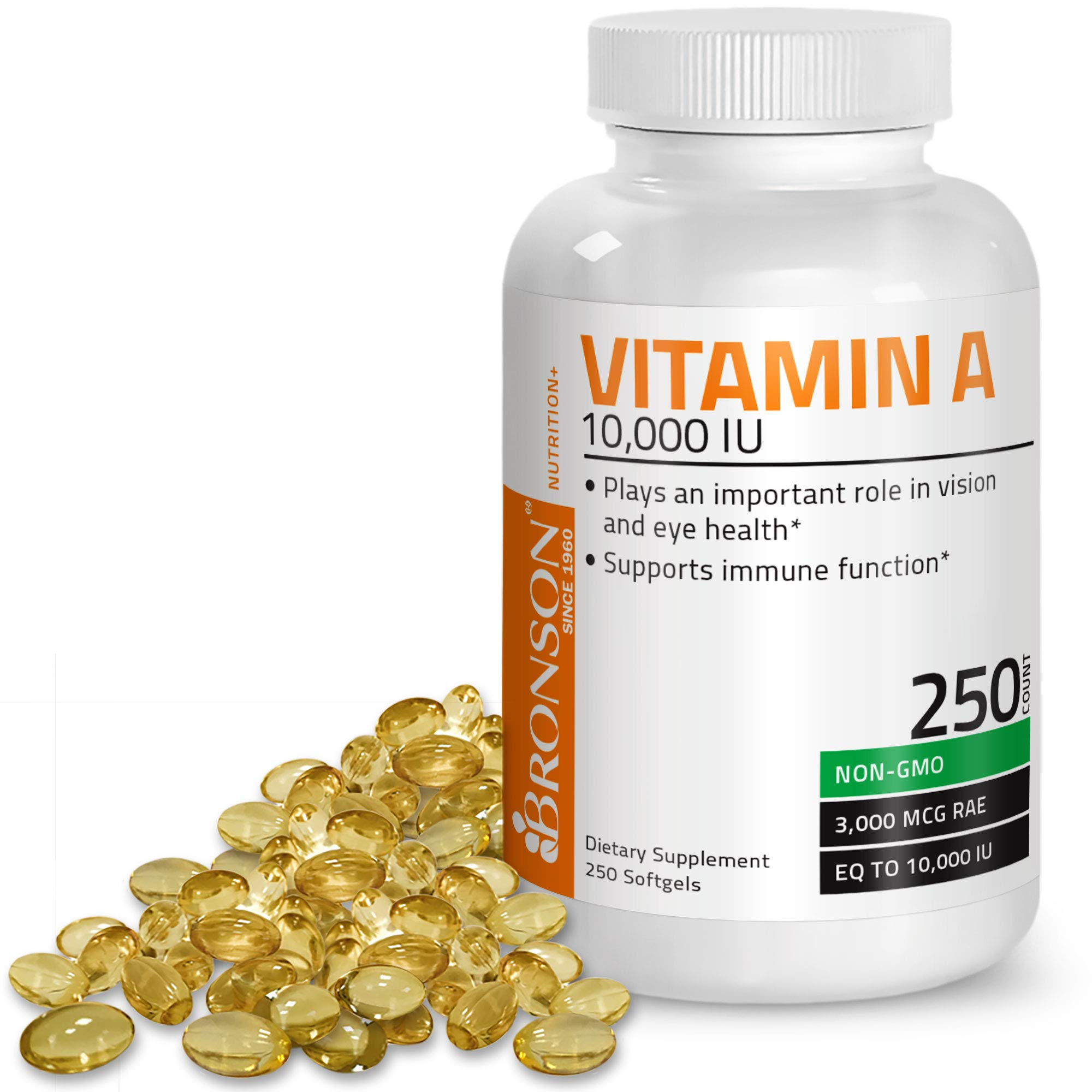 Bronson Vitamin A 10,000 IU Premium Non-GMO Formula Supports Healthy Vision & Immune System and Healthy Growth & Reproduction, 250 Softgels