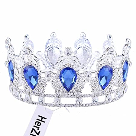 HerZii Women's Pageant Prom Queen Crystal Rhinestones Wedding Bridal Princess Tiara Crown Headpiece (red2) 316XSHNT