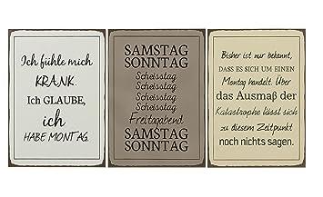 Amazon De 3er Set Metall Wandbilder Lustige Spruche Schilder Montag