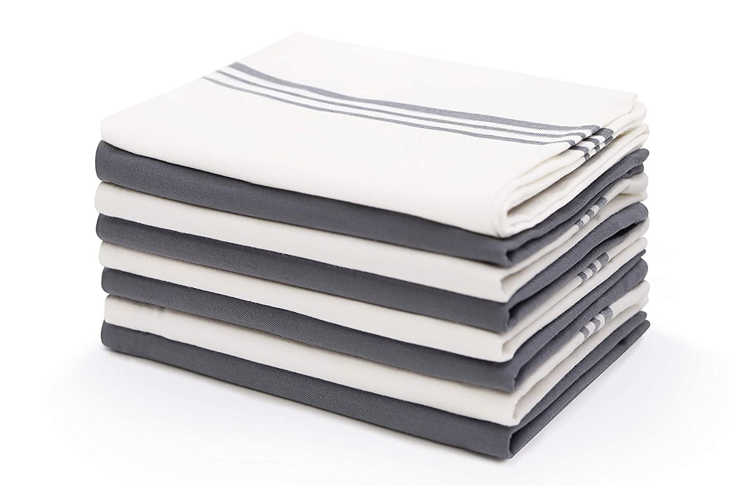 "Harringdons Kitchen Dish Towels Cotton Tea Towels with Pot Holder, 9 Piece Set. Gray and White 4 of Each in Plain Weave. Large, Absorbent Dish Cloths 28"" x 20"". There's no Substitute for Quality."