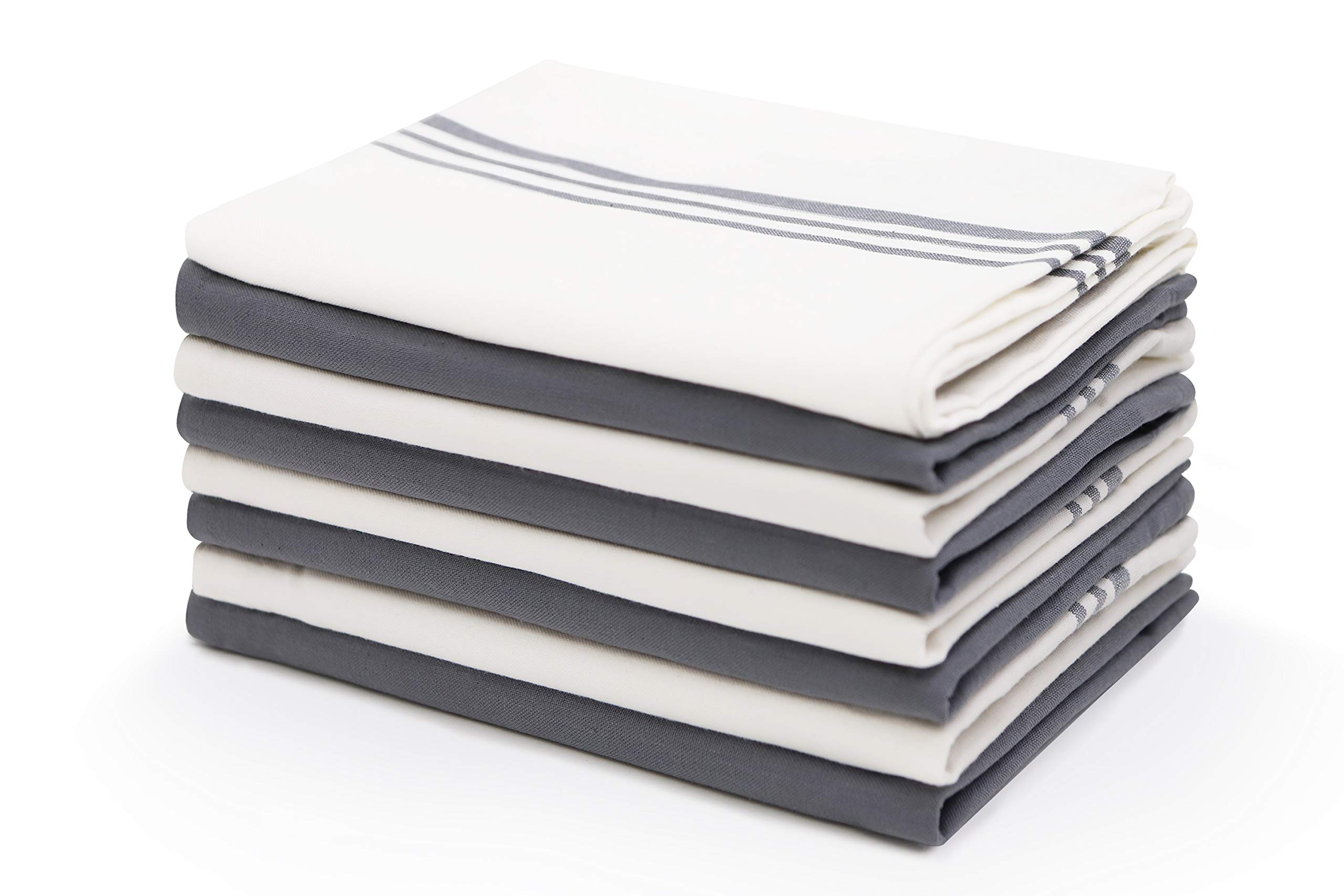 Harringdons Kitchen Dish Towels Cotton Tea Towels with Pot Holder, 9 Piece Set. Gray and White 4 of Each in Plain Weave. Large, Absorbent Dish Cloths 28'' x 20''. There's no Substitute for Quality. by Harringdons
