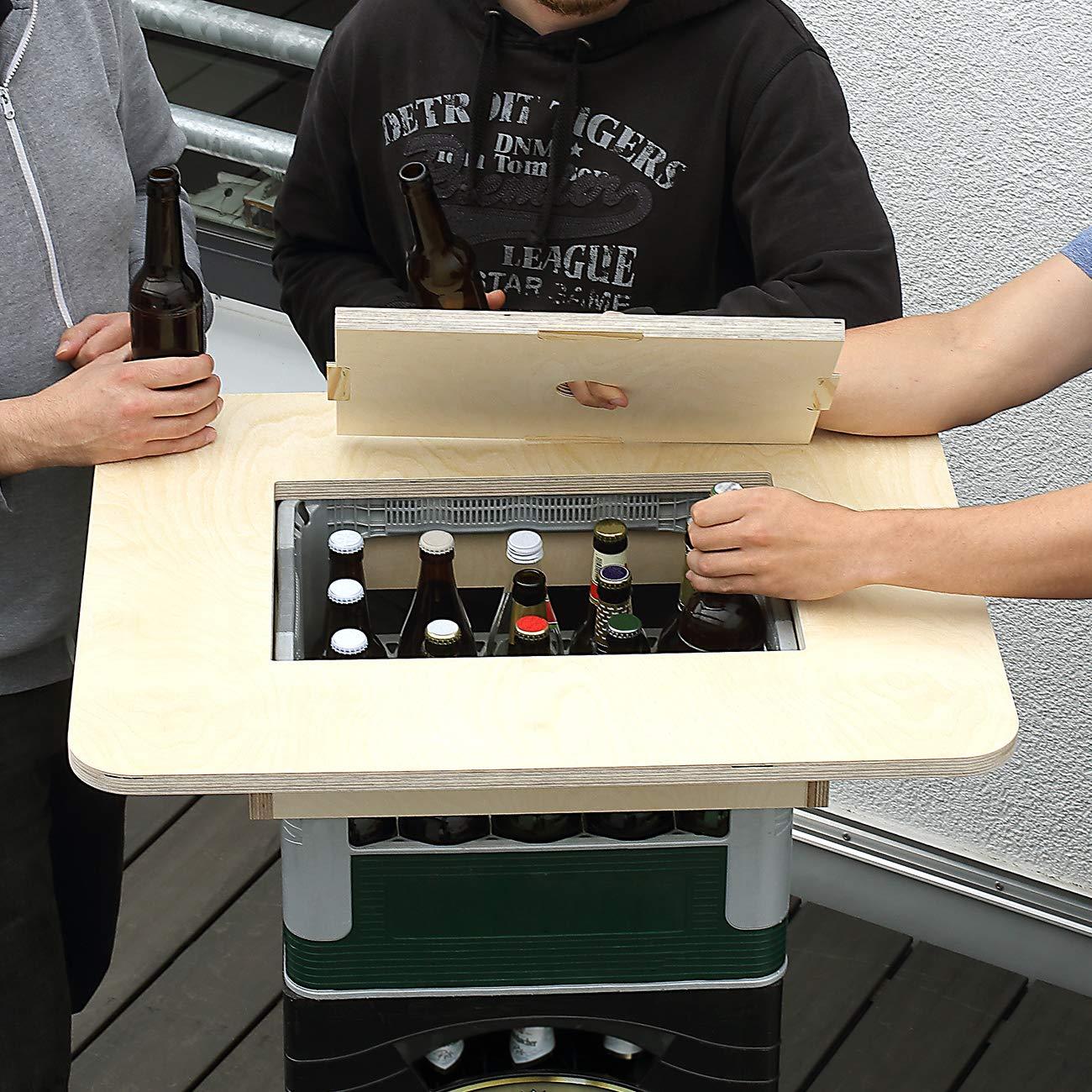 aus Holz Herz /& Heim/® Bierkasten Stehtisch Bierkastenaufsatz mit Namensgravur Made in Germany Grandioses M/ännergeschenk Platz an der Quelle