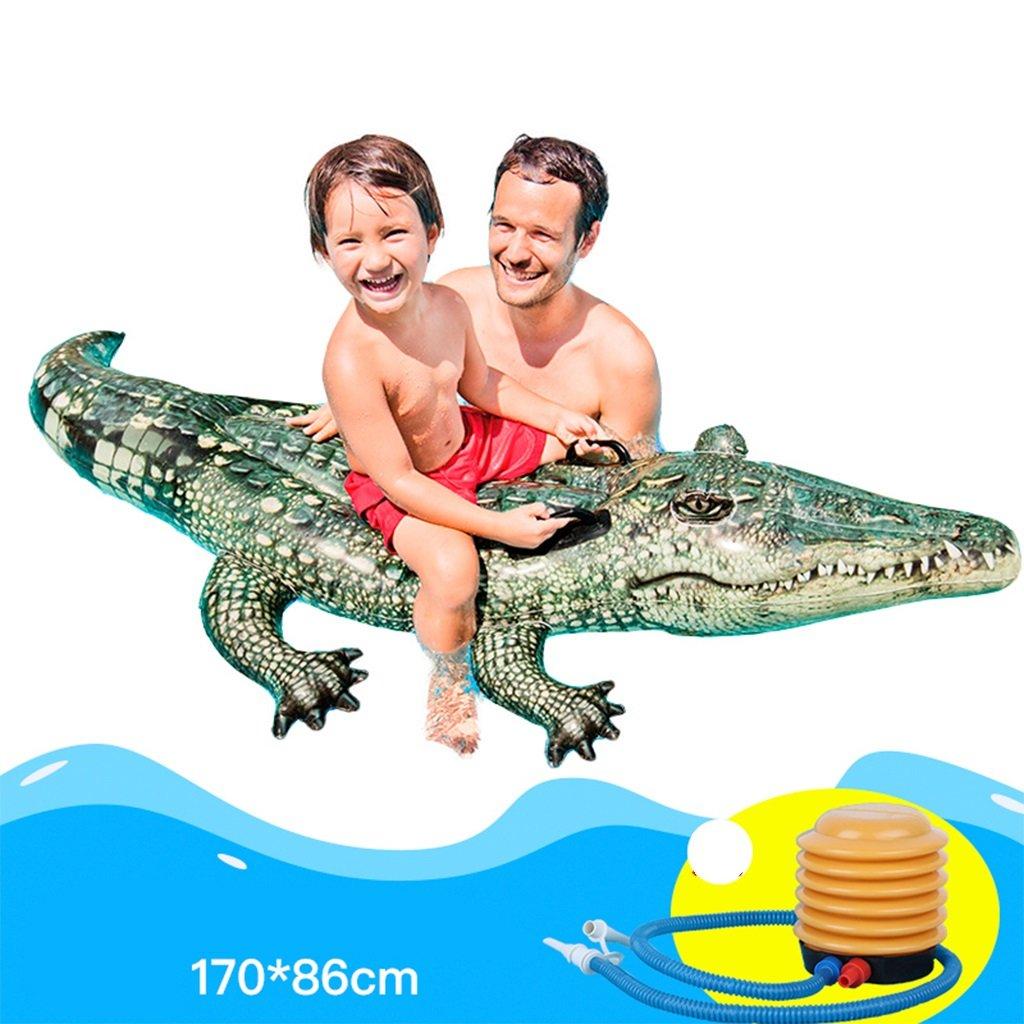 CHENGYI cama flotante, Paseos en el agua monta Adultos Inflables Jugar Juguetes 3D Crocodile Fila flotante Espesar Niños Natación Anillo 170  86 cm