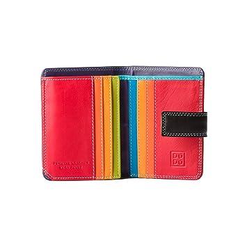 644a597277dfed Kleine Damen Geldbörse in farbigem Leder und Kartensteckfächer von DuDu  Schwarz