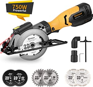 """Circular Saw, Ginour 6.2A Mini Circular Saw with Laser Guide, 6 Blades(2 pcs 5"""" & 4 pcs 4-1/2""""), Max Cutting Depth 1-7/8''(90°), 1-5/16''(45°), Ideal for Wood, Tile, Backerboard, Cement, Drywall"""