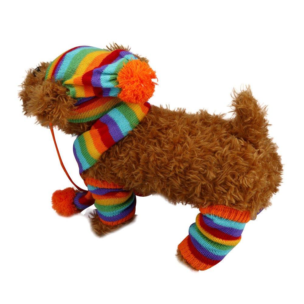 6Pc/Set Dog Pet Puppy Hat Scarf Leg Warmer Pet Clothes Neckerchief Autumn Winter Dog Cat Scarf Collar Pet Scarf Teddy Poodle Scarf Bichon Scarf Dog Bibs Dog Bandana Scarf (Multicolor, XS) by succeedtop (Image #9)
