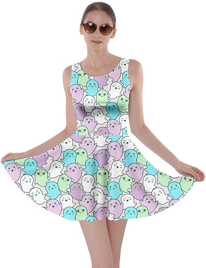 Womens Party Costume Bears Print Kawaii Cute Ghosts Skater Dress