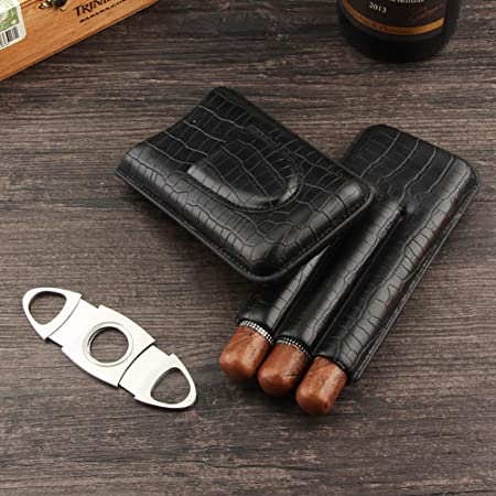 Amazon Com Galiner 3ct Cigar Case Genuine Leather Cigar Travel Case Humidor With Cigar Cutter Black Health Personal Care