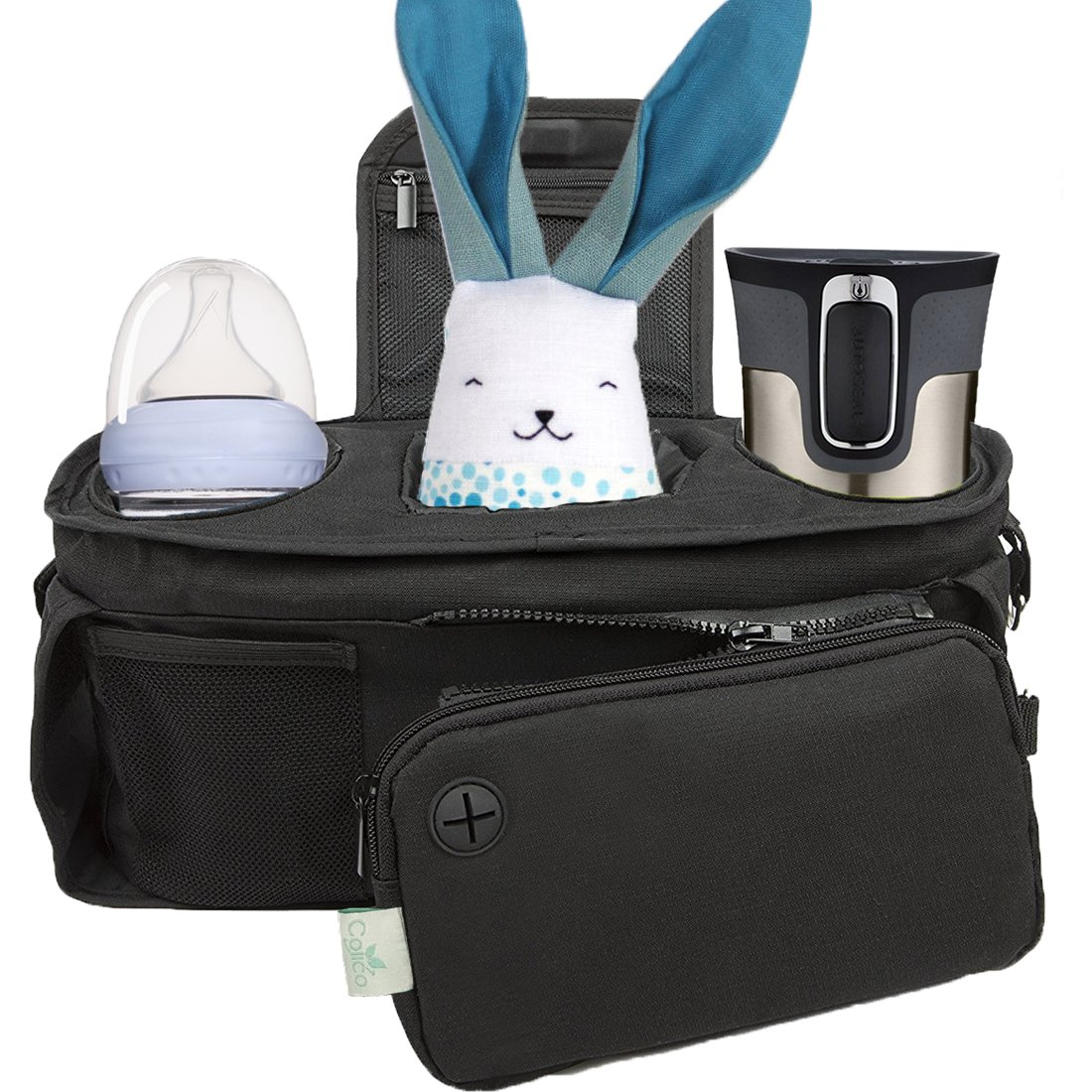 Baby Stroller Organizer Bag, Tray, Bottle Cup Holder, with Multiple Pockets & Compartments for Phone, Money, ID, Sunglasses, Snacks, Coffee, Extra Diaper. Separate Zippered Removable Pouch Colico