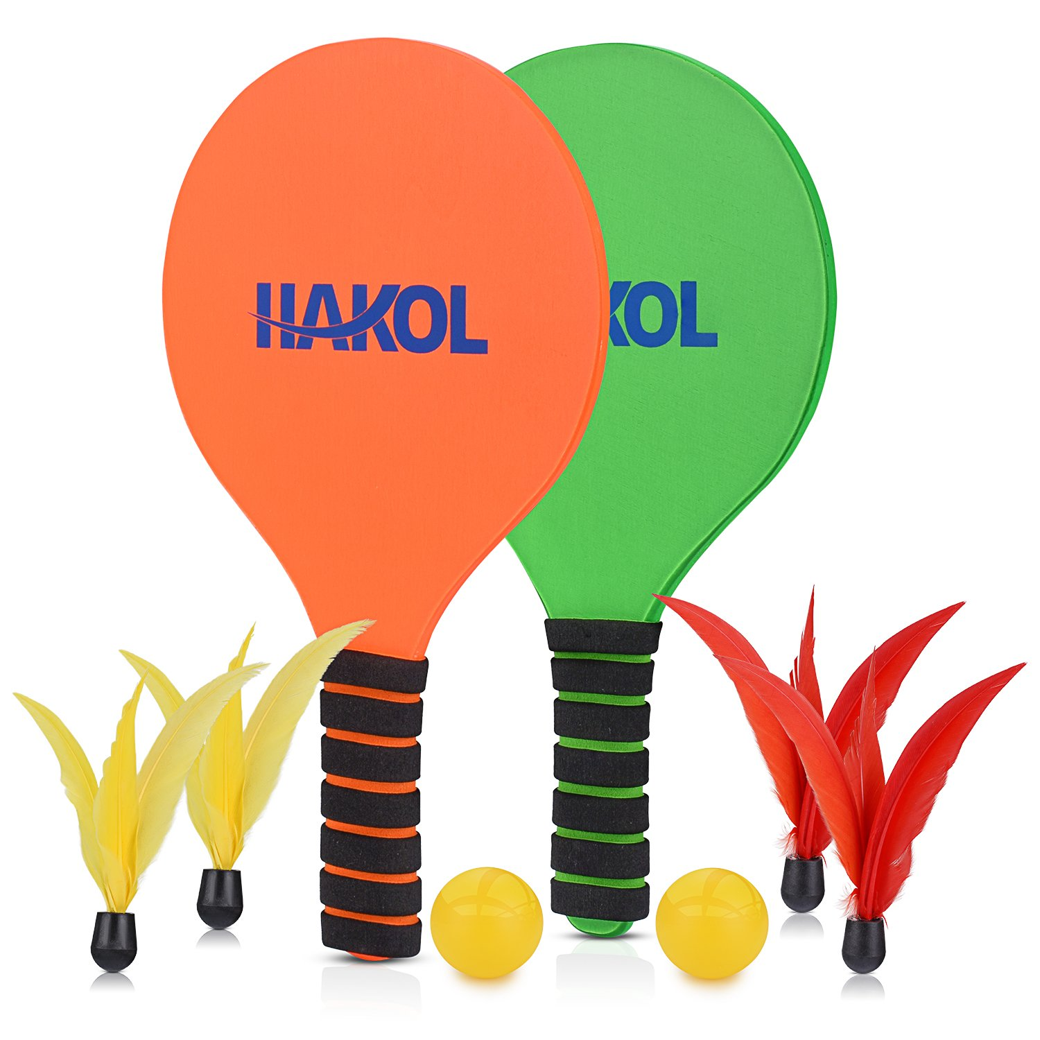 HAKOL Premium Paddle Ball 2 Player Bundle - 2 Durable Paddles, 2 Balls, 2 Red & 2 Yellow Birdie Feather Balls - Great For Indoors, Outdoors, Beach & Pool Fun & Sports - Suitable For Kids & Adults
