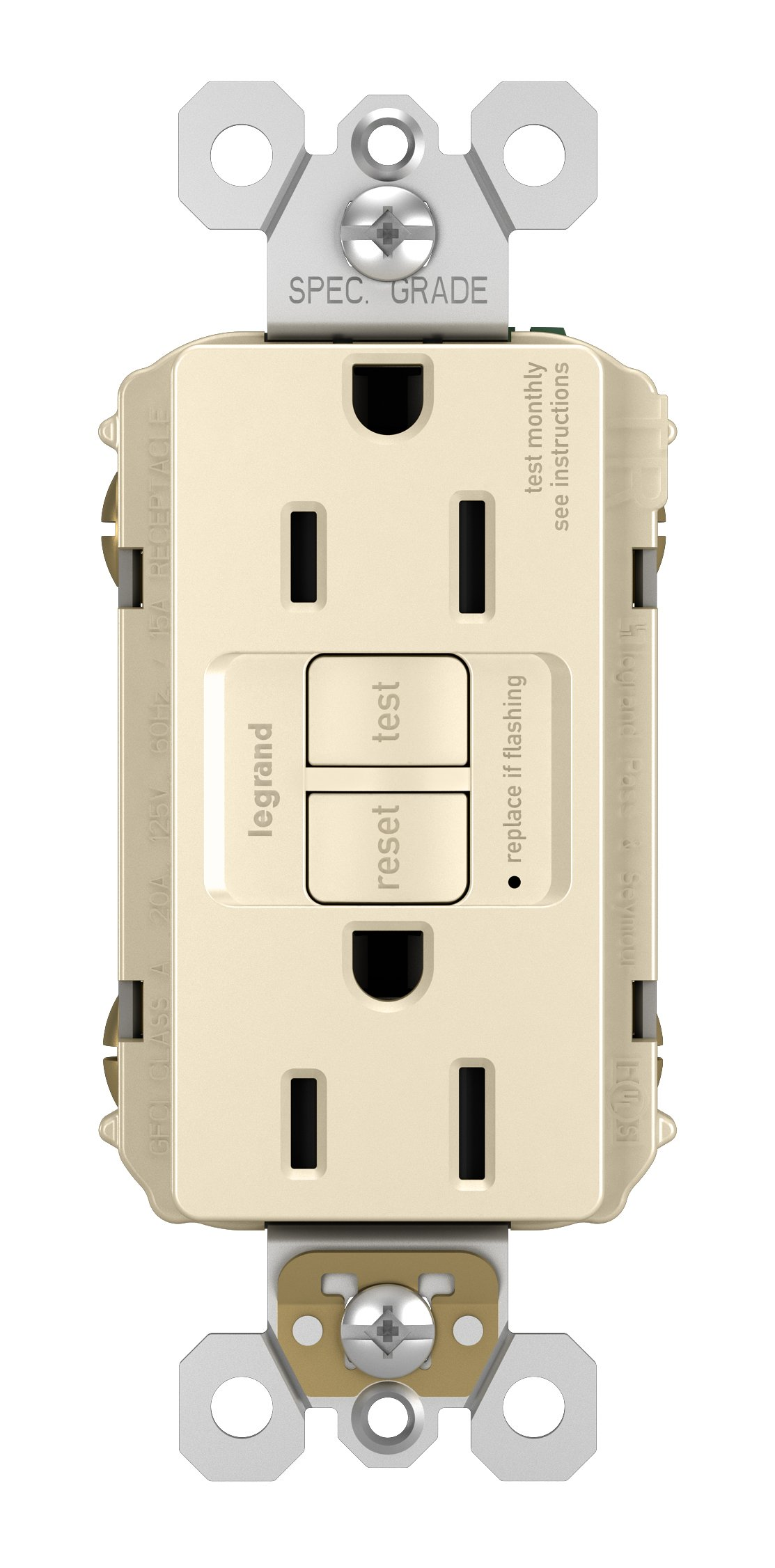 Legrand-Pass & Seymour 1597TRLACC4 Self-Test GFCI Receptacle Outlet with Wall Plate, 15Amp 125V, Light Almond