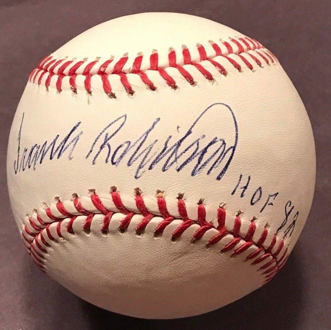 "FRANK ROBINSON (Orioles/Reds) authentic signed""HOF'82"" MLB baseball COA JSA Certified Autographed Baseballs"
