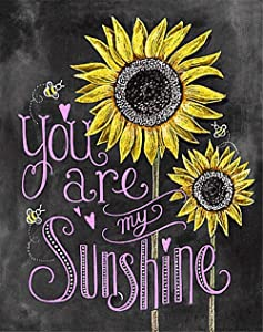Eiflow 5D Diamond Painting Kits Full Drill You are My Sunshine,DIY Embroidery Art Kits Paint with Diamonds Mosaic Painting for Home Wall Decor(25x30cm/10x12in)
