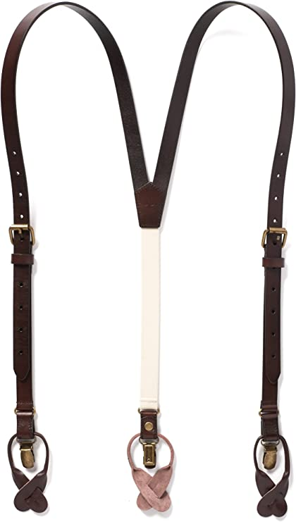 Men's Vintage Style Suspenders JJ SUSPENDERS Genuine Leather Suspenders For Men with Elastic Strap & Interchangeable Clips $69.00 AT vintagedancer.com
