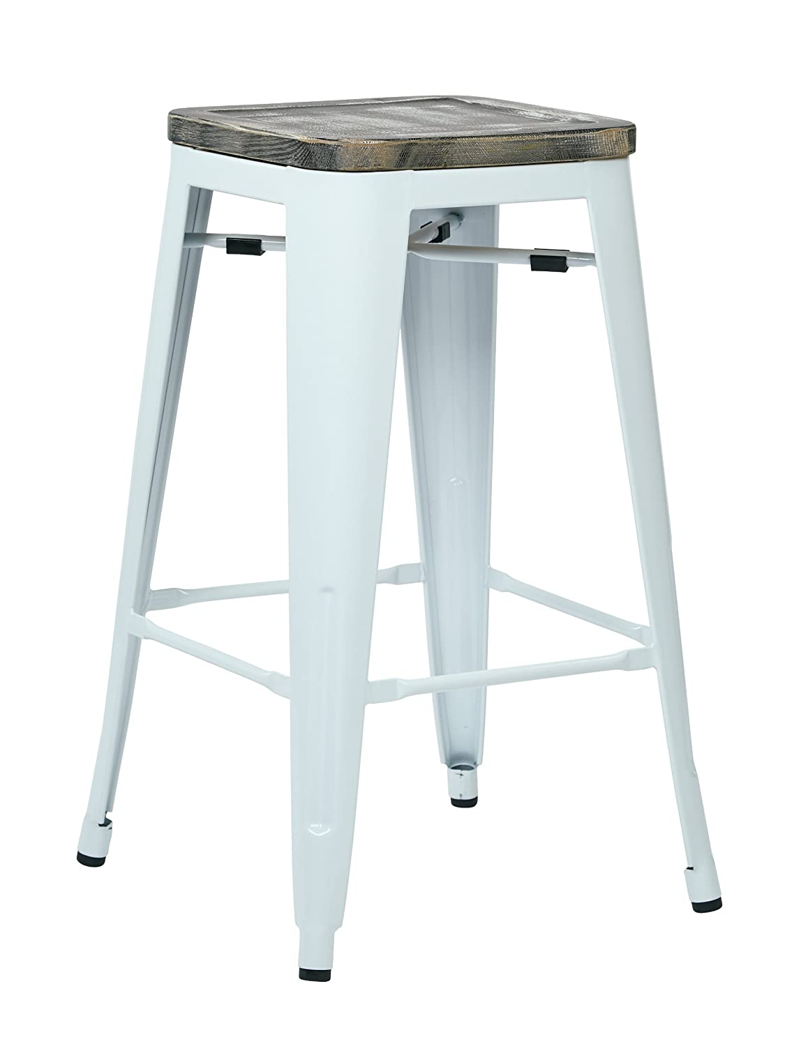 metal bar stools with wood seat. Amazon.com: Office Star Bristow 26-Inch White Metal Frame Barstool With Vintage Wood Seat, Ash Crazy Horse, 4-Pack: Kitchen \u0026 Dining Bar Stools Seat S