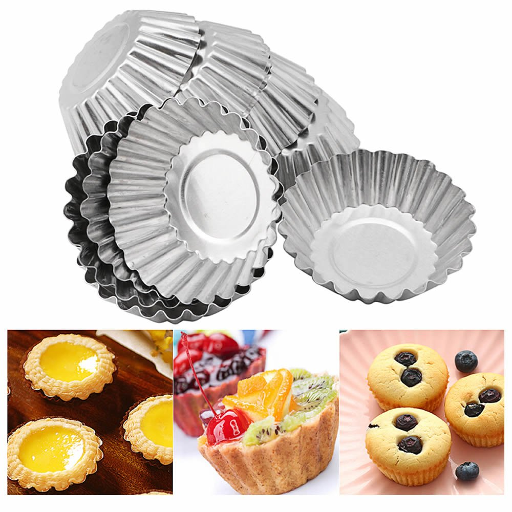 ISKYBOB 20 Pack Egg Tart Aluminum Cupcake Cake Cookie Mold Tin Reusable Baking Tool Baking Cups (S)