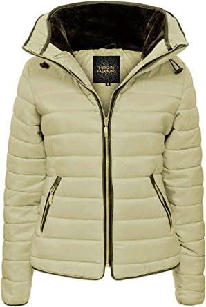 Womens Jacket Hooded Quilted Padded Ladies Puffer Bubble Winter Coat Long Sleeve