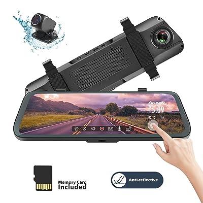 Acumen Mirror Dash Cam Digital Rear View Mirror 10'' Touch Screen, Dual Lens 1080P Full HD Cameras ADAS Motion Detection Parking Mode G-Sensor Loop-Recording Night Vision with 16GB SD Card (R1080P): Car Electronics